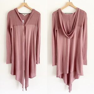 lamade Mauve Pink Hooded Duster Knit Cardigan NWT